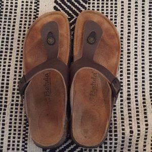 Betula by Birkenstock brown leather strap sandals